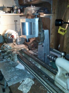Column in place, with milling head and vise attached.