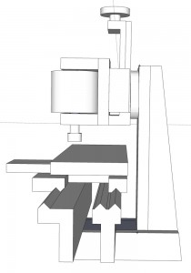 Side view of milling attachment.