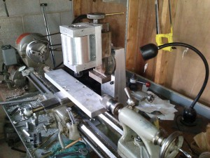 Milling table attached to cross slide.