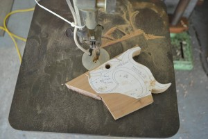 Cutting out the handle on my scroll saw.
