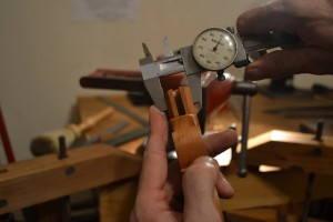 """Measuring the thickness of the handle - 0.903""""."""