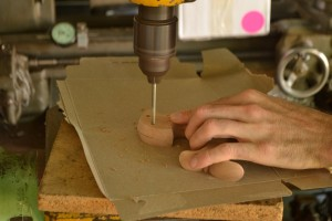 """Drilling the thru-hole with a 3/16"""" brad point bit. Don't be jealous of my awesome drill press table."""