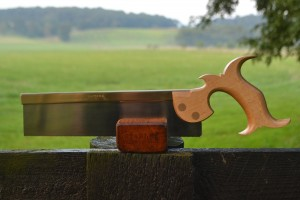 Ten inch dovetail saw with canted blade. Handle in quartersawn American beech.