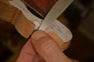 I use the handle maker's rasp from Tools for Working Wood to sculpt the lamb's tongue.