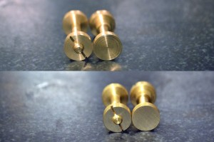 Bolt and nut with lathe finish (top), and after sanding (bottom)