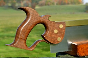 Twelve inch carcase saw with large quartersawn walnut handle.