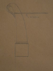 An early sketch. When the cord is tensioned, it will wedge itself into the return of the eye.
