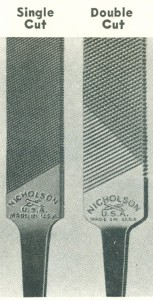 Single vs. double cut files. From File Filosophy, Nicholson File Company, 1949.
