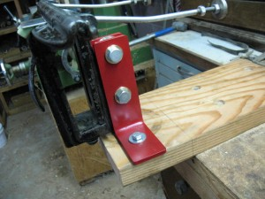 One of Marv's Disston D3 vise mounting modifications, side view.