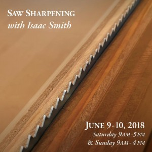 Lie-Nielsen Saw Sharpening Workshop, June 9-10 in Warren, ME.